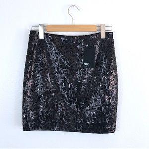 PAIGE Lolita Black Sequined Mini Skirt